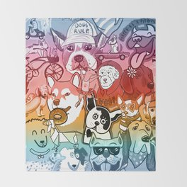 Dog Gone it collage ombre Throw Blanket