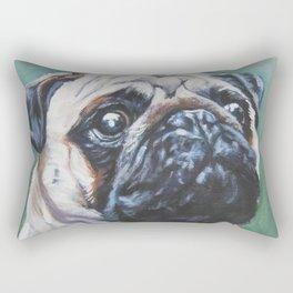 PUG dog art portrait from an original painting by L.A.Shepard Rectangular Pillow