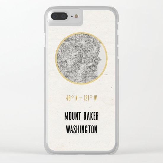 Mount Baker Washington Location Map Print Clear iPhone Case