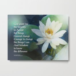 Serenity Prayer Lotus One Metal Print
