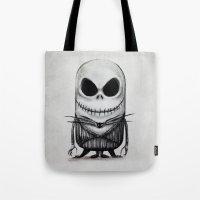 jack skellington Tote Bags featuring Mini Jack Skellington by bimorecreative
