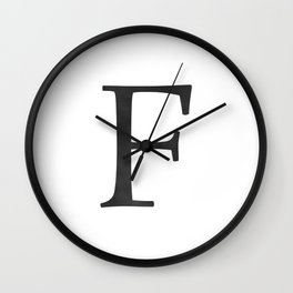 Letter F Initial Monogram Black and White Wall Clock