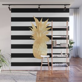 Gold Pineapple Black and White Stripes Wall Mural