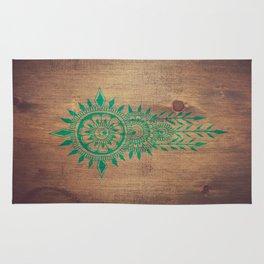 emerald green rustic mandala Rug