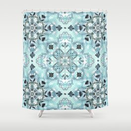 Soft Mint & Teal Detailed Lace Doodle Pattern Shower Curtain