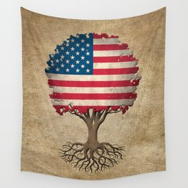 Vintage Tree of Life with Flag of The United States Wall Tapestry