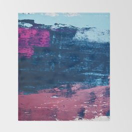 Early Bird [2]: A vibrant minimal abstract piece in blues and pink by Alyssa Hamilton Art Throw Blanket