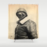 general Shower Curtains featuring General Sloth by Bakus