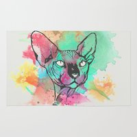 sphynx Area & Throw Rugs featuring Watercolor Sphynx by Zeke Tucker