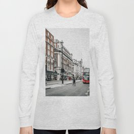 Red bus in Piccadilly street in London Long Sleeve T-shirt