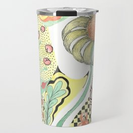 Yellow flower with patterns Travel Mug