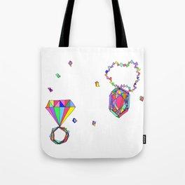 Shine Colorfully diamonds jewelry illustration fashion gem colorful accessory princess girly Tote Bag