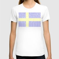 sweden T-shirts featuring digital Flag (Sweden) by seb mcnulty
