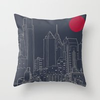 blueprint Throw Pillows featuring Philly Blueprint by ralexandertrejo