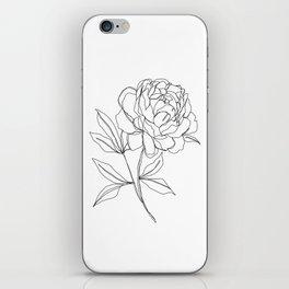 Botanical illustration line drawing - Peony iPhone Skin