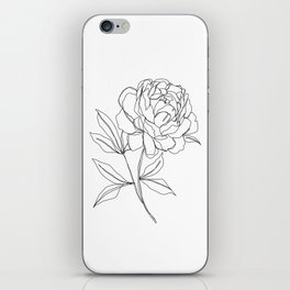 Botanical illustration line drawing - Peony iPhone Skin