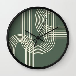 Minimalist Lines in Forest Green Wall Clock