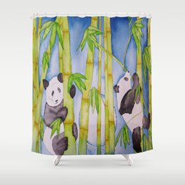 Playful Pandas by Moonlight Shower Curtain