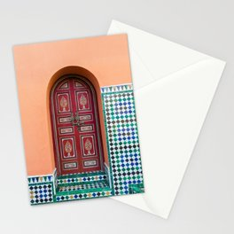 Moroccan Tile Mosaic Door in Marrakech, Morocco Stationery Cards