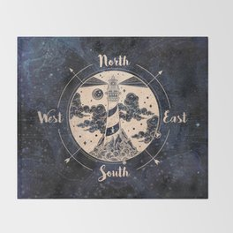 Compass World Star Map Throw Blanket