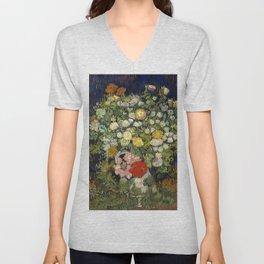 "Vincent Van Gogh ""Bouquet of Flowers in a Vase"" Unisex V-Neck"