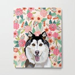 Husky floral pet portrait art print and dog gifts Metal Print