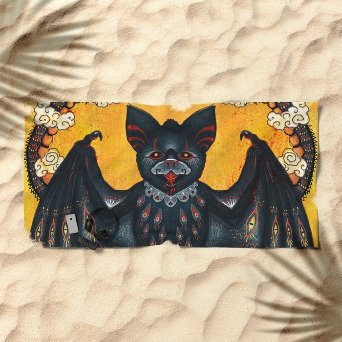 Black Bat Beach Towel