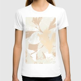 Stamped Gingko Leaves in Wheat T-shirt