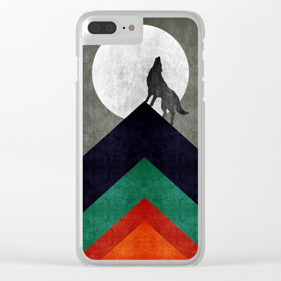 Wolf on top Clear iPhone Case