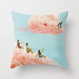 3 children gazing at passing clouds Throw Pillow