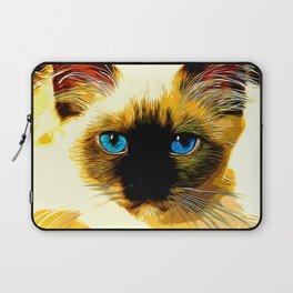 holy birma cat blue eyes vector art Laptop Sleeve