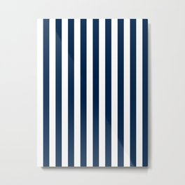 Narrow Vertical Stripes - White and Oxford Blue Metal Print
