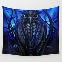 cyberpunk Wall Tapestries featuring Mechanical Owl - Blue by Giorgio Finamore