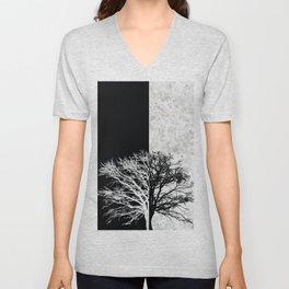 Natural Outlines - Oak Tree Black & Concrete #402 Unisex V-Neck