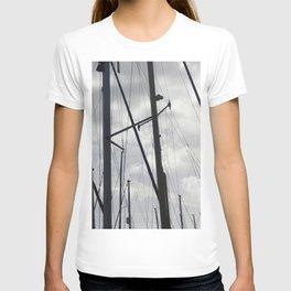 Yacht masts on cloudy sky T-shirt