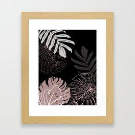 monstera leaves on black drawing Framed Art Print