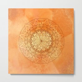 Watercolor Mandala Pattern Orange Metal Print