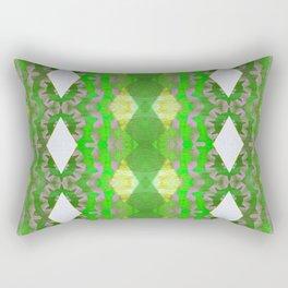 Lime and Moss Green Modern African Boho Texture Print Rectangular Pillow