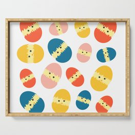 Multi Coloured Easter Eggs with Chicks - Yellow Orange Turquoise Pink Serving Tray