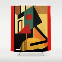 kandinsky Shower Curtains featuring THE GEOMETRIST by THE USUAL DESIGNERS