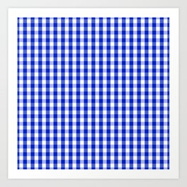 Cobalt Blue and White Gingham Check Plaid Squared Pattern Art Print