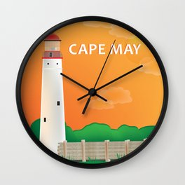 Cape May, New Jersey - Skyline Illustration by Loose Petals Wall Clock