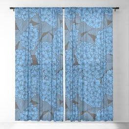 Blue hydrangea Sheer Curtain