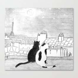 Cats on parisian roof Canvas Print