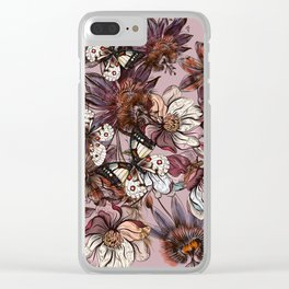 Tropical design with exotic flowers and hummingbird Clear iPhone Case