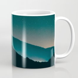 Minimalist Landscape Photography Night Sky Turquoise Teal Mountains Coffee Mug