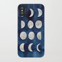 moon phases iPhone & iPod Cases featuring Moon phases by Bridget Davidson