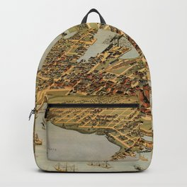 Vintage Pictorial Map of Vancouver BC (1898) Backpack