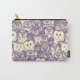 just owls purple cream Carry-All Pouch