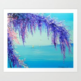 Wisteria by the sea Art Print